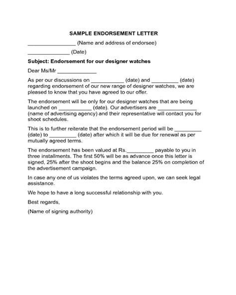 endorsement letter template 2018 endorsement letter templates fillable printable