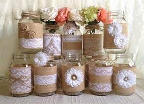 rustic bridal shower decor 10x rustic burlap and white lace covered jar vases
