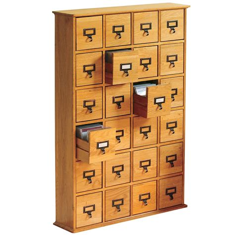 Cd Storage Cabinet Library 456 Cd Wood Storage Cabinet 24 Drawer Media Tower Organizer Plain Oak Ebay