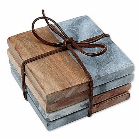 bed bath and beyond coasters thirstystone 174 grey marble acacia coasters set of 4 bed