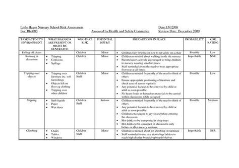 risk assessment template  nursery google search counseling risk management assessment