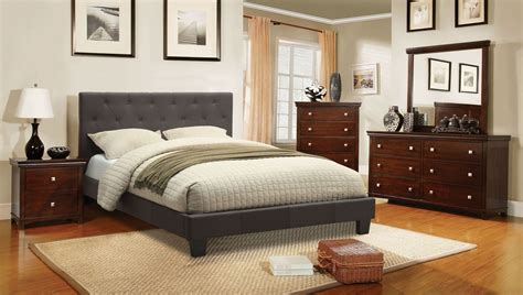 Fabric Bedroom Furniture Leeroy Gray Youth Fabric Platform Bedroom Set Cm7200lb T Bed Furniture Of America