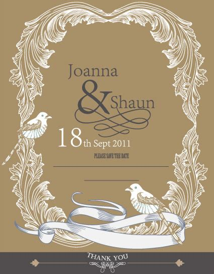 Wedding Card Design Vector by Set Of Wedding Card Design Elements Vector Free Vector In