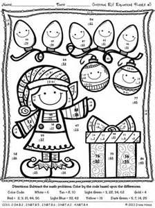 Elf equations christmas math printables math printables color