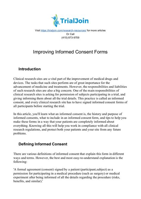 Improving Informed Consent Forms Anesthesia Contract Template