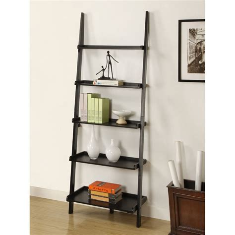 leaning ladder bookcase book shelf in black finish