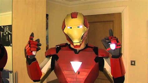 homemade iron man costume working lights sliding