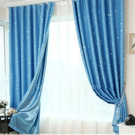 best curtain color for bedroom best blackout curtains in blue color of star printed for