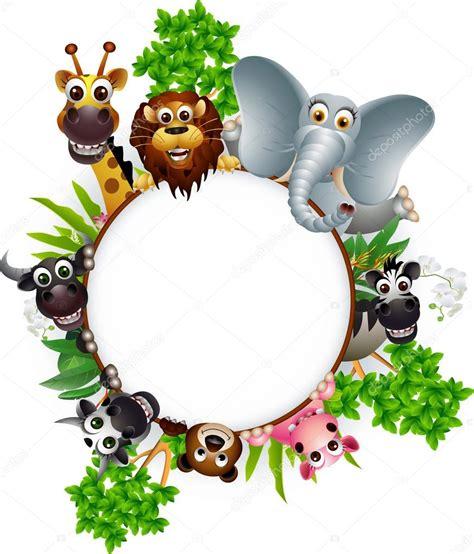imagenes animales y plantas colecci 243 n de animales de dibujos animados lindo con signo