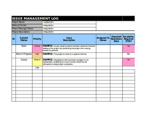 issue log template excel 9 issue tracking templates free sle exle format