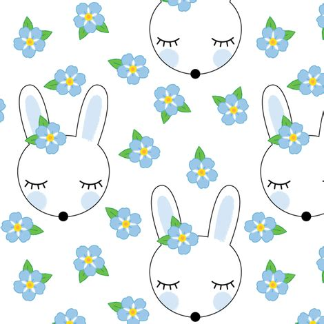 bunnyies and forget me knots fabric lilcubby spoonflower