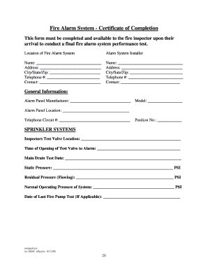 fire certificate completion fill online, printable