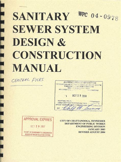 design criteria for sewers and watermains sanitary sewer system design and construction manual