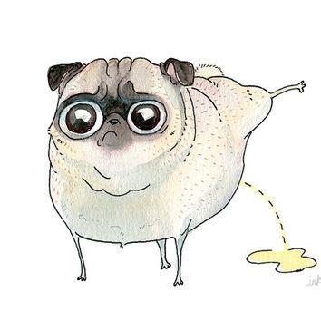 drawing of a pug shop pug drawing on wanelo