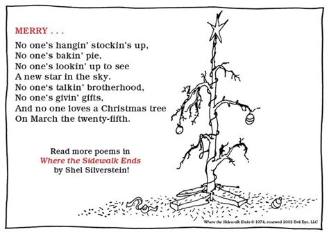 the little christmas tree poem shel silverstein march 25th shel silverstein shel silverstein and silverstein