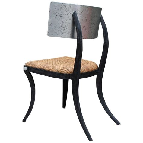 modern klismos chair modern silver leaf steel klismos chair with woven cane