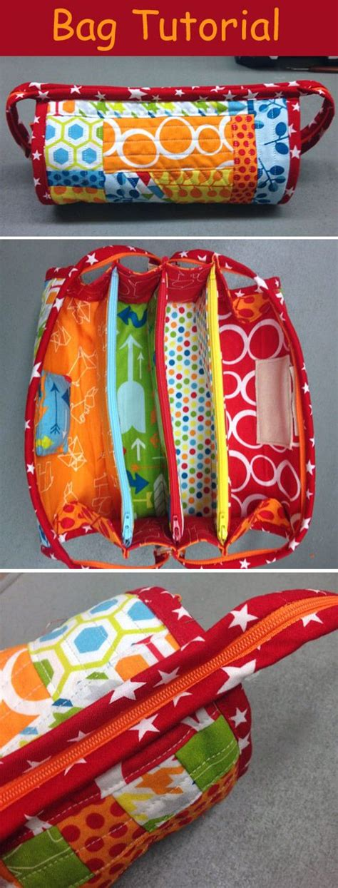 multi zippered pouch pattern sew together bag diy step by step tutorial сумочка для