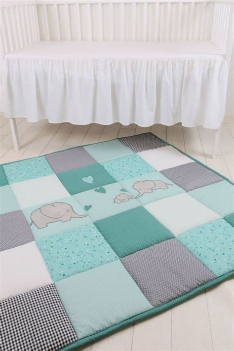 Mint Elephant Rug by Baby Play Mat Baby Mat Baby Activity Mat Elephant Baby