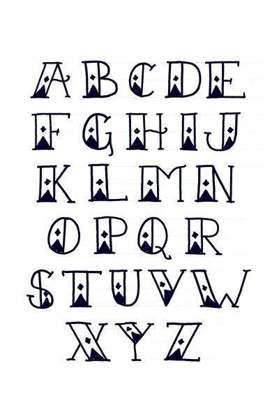 sailor s diamond tattoo font alphabet print art print