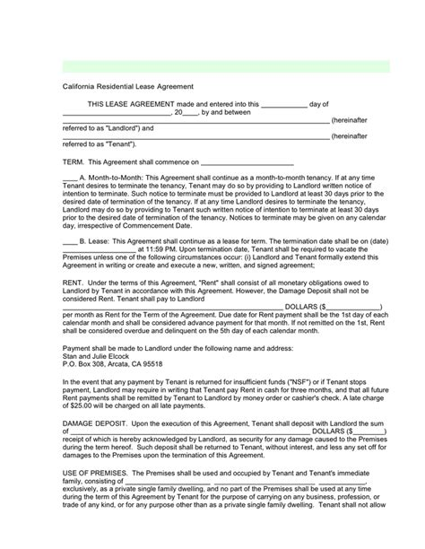 sle parking lease agreement california residential lease agreement in word and pdf formats