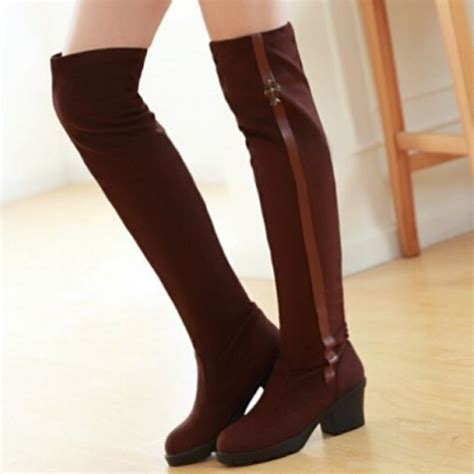faux suede thick heel boots fashion tight stretch knee
