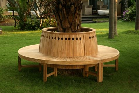 Round Tree Bench With Circular Cutouts Decoist