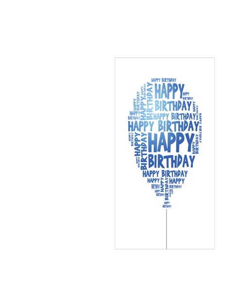 Birthday Card Template Pdf