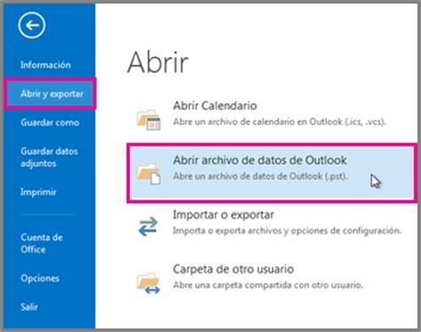 Año 0 Calendario Abrir Y Cerrar Archivos De Datos De Outlook Pst Outlook