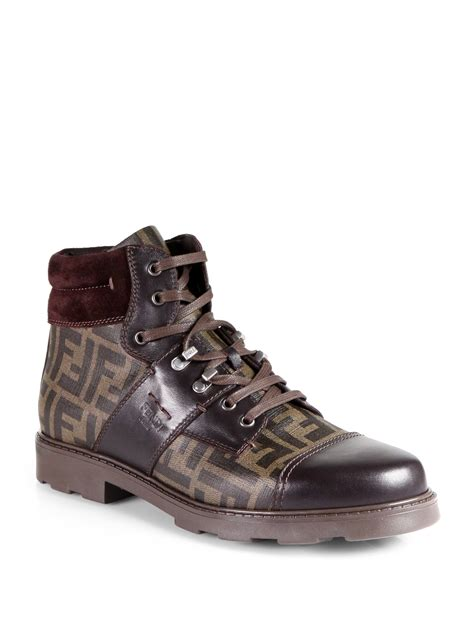 fendi boots for fendi zucca laceup boots in brown for lyst