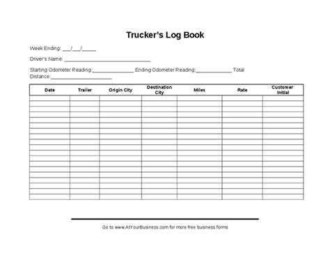 truck driver log book exles