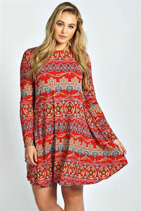 plus size swing dresses boohoo womens plus size donna paisley long sleeve swing