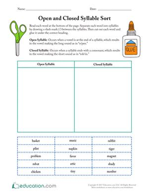 Closed Syllable Worksheets open and closed syllable sort worksheet education