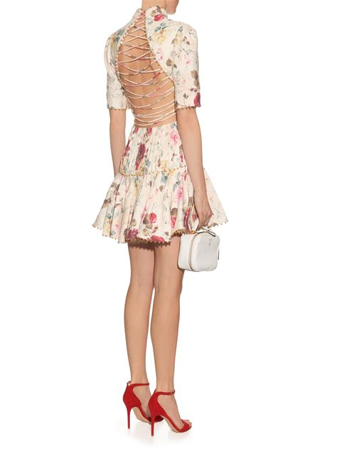 Wst 19267 White Floral Fluted Dress Size S M L zimmermann mischief floral print pleated linen dress in