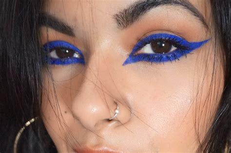 Make Up Eyeliner feline royal blue winged eyeliner makeup look