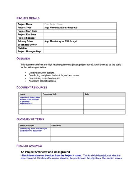 business requirements templates lovely simple business requirements template pictures