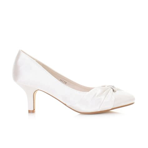 Womens White Wedding Shoes by White Wedding Low Kitten Heel Bridal Satin Diamante