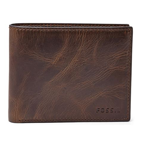 Fossil Wallet fossil derrick brown leather bifold wallet with id