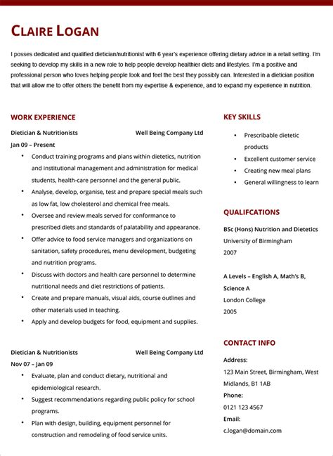 resume sle for dietitian resume template word for mac sle resume resume sle for nurses in