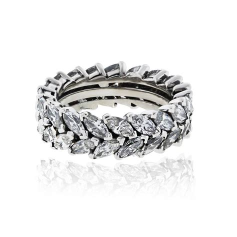 Eternity Band by Platinum 6ctw Row Marquise Eternity Band Ring