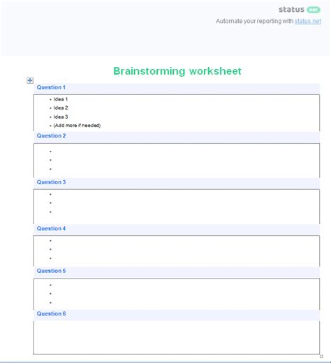 brainstorming chart template 4 organized brainstorming templates charts and worksheets