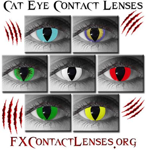 cat eye contacts yellow, green, red, blue