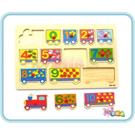Tiny Town Wooden Block Educational 50 Pcs Puzzles W Moving Cars wooden puzzle 1 10 counting