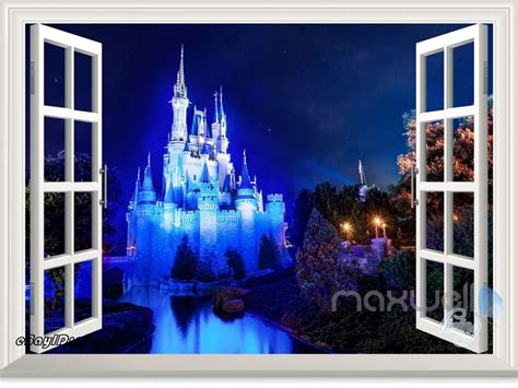 disney castle wall mural disney princess magic castle 3d window wall decals sticker mural ebay