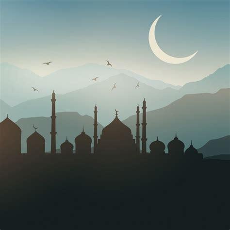 design background ramadan ramadan landscape background at sunset vector free download