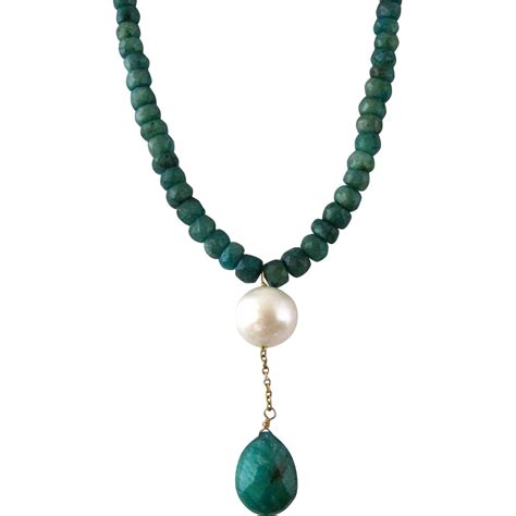Retro Princess Pear Collar vintage faceted emerald bead and pearl drop necklace sold on ruby
