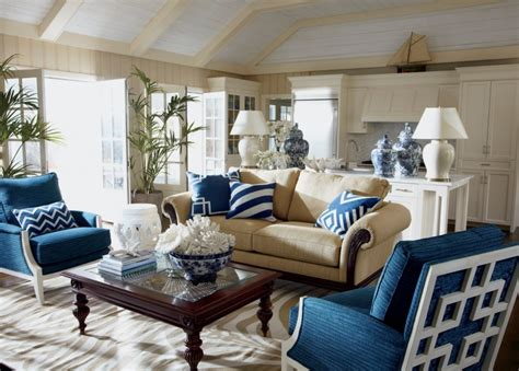beige and blue living rooms
