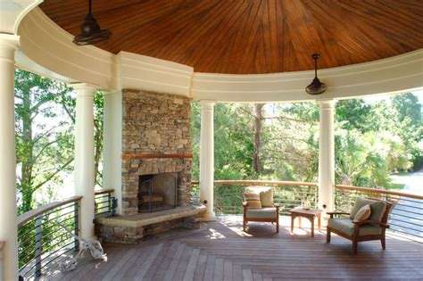 stacked stone outdoor fireplace centers circular porch