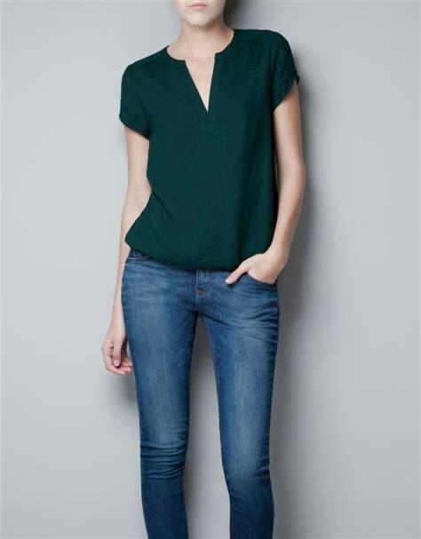 Zara Jumbo Blouse By Hana zara blouse with golden appliqu 233 in green emerald green lyst
