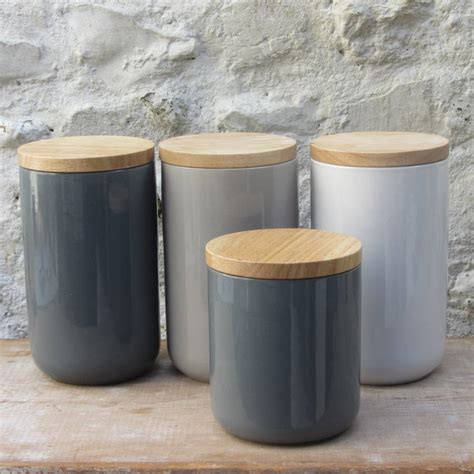 Blue Kitchen Canisters ceramic storage jars with wooden lids by horsfall amp wright