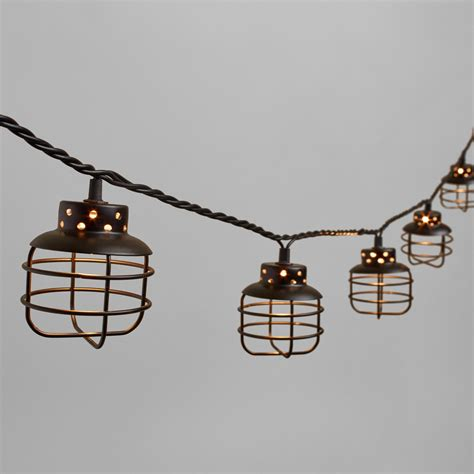 Black Metal Cage 10 Bulb String Lights World Market Metal Lantern String Lights